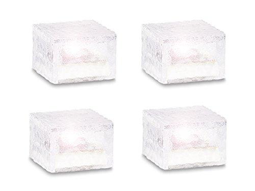 Preisvergleich Produktbild Lunartec Solar-LED-Glasbaustein mit Lichtsensor 4er-Set klein (7x7 cm)
