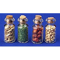 12th Scale Dolls House Kitchen Accessory - Set Of 4 Filled Glass Jars HERBS- S10424
