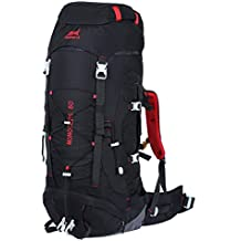 Eshow Mochilas de 60 Litros de Senderismo Nylon Mochilas de Acampada 60L Impermeable de montanismo Trekking Deportes Excursion Color Negro