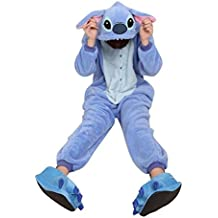 Enterizo XL de franela de invierno para la práctica de una pieza Unisex azul pijama Stitch azul azul Talla:S (155-160cm)