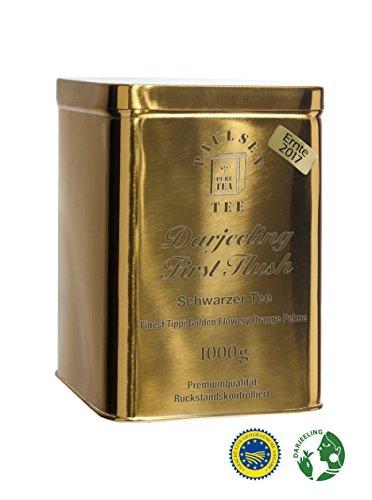 Darjeeling First Flush Ernte 2017, Schwarzer Tee in einer sehr hochwertigen Edelstahldose Gold glänzend 1000g