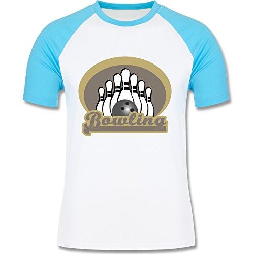Shirtracer Bowling & Kegeln - Bowling Old School - Herren Baseball Shirt Weiß/Türkis