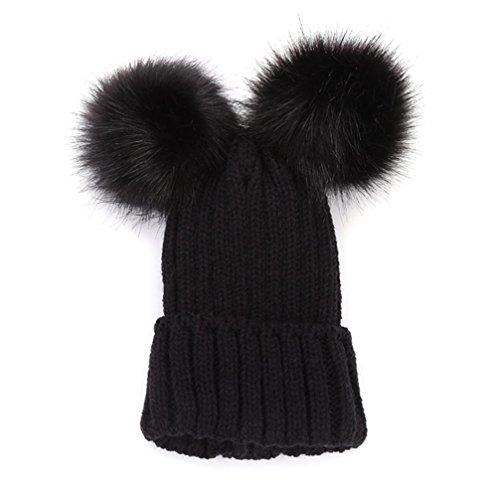 Weihnachtsgeschenk Mutter und Kinder Strickmütze SHOBDW Frauen Baggy Warm Crochet Winter Junge Mädchen Wolle stricken Ski Beanie Skull Slouchy Caps Hut (Mutter-Schwarz)