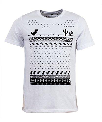 Spiele Google (Herren Dinosaurier Google Spiel Weihnachts-T-Shirt - Weiß (Large))
