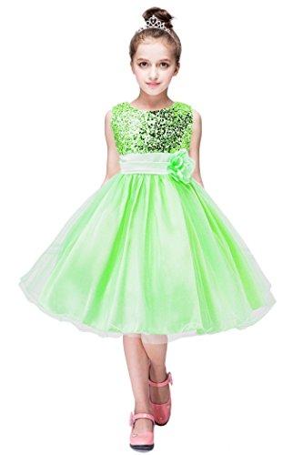 YMING Große Blumen Geburtstags Party Tutu Tüll Glänzend Kleinkind Sequin Mädchen Kleid (Cinderella Kostüme Für Jugendliche)