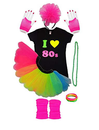 I Love 80s Girls Kids Fancy Dress Outfit Complete Set Tutu TShirt Legwarmers Gloves (9-10 Years)