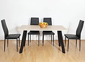 chester oak wooden wood dining table set and 4 6 black faux leather chairs seats 4 chairs. Black Bedroom Furniture Sets. Home Design Ideas
