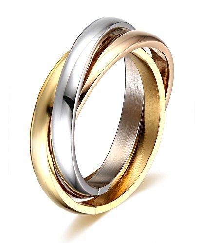 Vnox Frauen Edelstahl russischen Tri-color verschachtelte Trinity Ring für Hochzeit Engagement Versprechen,Größe 54 (17.2)