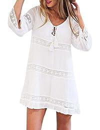 Mini Faldas para Mujer - Rcool - Manga 3/4 de Suelto Encaje de Boho Beach Corto Mini Vestido