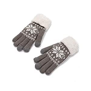 Chinashow Damen Knit Touchscreen Handschuhe – 3 Finger Touchscreen Winter extra warme Handschuhe Snowflake weiche Wollfutter Handschuhe grau