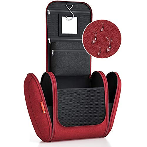 Kulturbeutel XXL [8 Liter Stauraum] Kulturtasche für Männer und Frauen [DESIGN 2019], Kosmetiktasche für Mann und Frau, Waschtasche, Waschbeutel zum Aufhängen für Damen & Herren (rot)