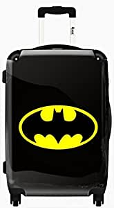 IKASE - Valise personnalisée Embleme batman sur fond noir et jaune - 51 cm taille cabine 95751/50/BLK/LOG/13/YLW