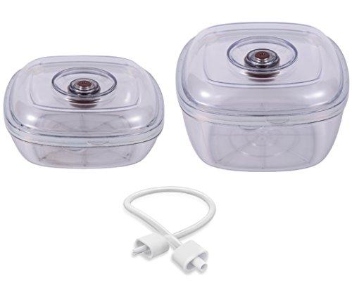 Luvele Vakuum Kanister Set von zwei 1L + 2L BPA-frei Kanister | Küche Aufbewahrung Vakuum Container (Kanister Vakuum-schlauch)