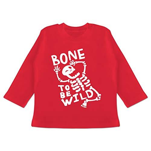 Anlässe Baby - Bone to me Wild Halloween Kostüm - 3-6 Monate - Rot - BZ11 - Baby T-Shirt Langarm