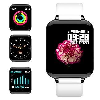 jpantech Smartwatch, 5ATM Impermeable Reloj Inteligente Hombre Mujer, Pulsera Actividad Inteligente Reloj Deportivo Reloj Fitness con Pantalla Táctil Pulsómetro Cronómetros para iPhone (Blanco)