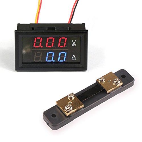 Droking YB27VA-50A Doppelanzeige Digital Voltmeter/Amperemeter, DC 0V-100V/50 Ampere, 50 Ampere/75mV Shunt Amperemeter Shunt
