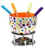 Kitchen - Mastrad Ceramic Fondue with Coloured Metal Handle Forks, Peas Design