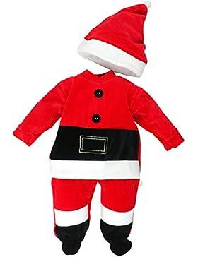 Fruit de ma passion - Baby Jungen Strampler Schlafanzug mit Mütze Weihnachten Weihnachtsmann