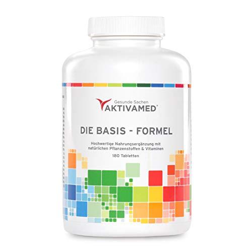 Basis-Formel Aktivamed Premium Multivitamin + Multimineral mit Vitamin D3 - 180 Tabletten hochdosiert für 3 Monate - Über 32 Vitamine, Mineralien & Spurenelemente inkl. komplettem B-Komplex in einem Produkt. Mit Metafolin (verwertbarer Folsäure) & L-Acetylcystein (Glutathionsynthese)