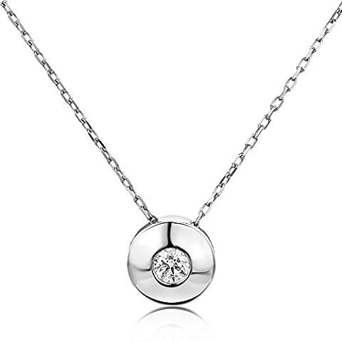 Diamada Femme or blanc en diamant solitaire collier avec pendentif 9kt (375) brillant 0.1cts, Chaîne d'ancrage 42cm