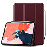 Toplive Luxury Cowhide Genuine Leather iPad Pro 12.9 Case (2018), [Support Apple Pencil Charging],Smart Stand Folio Case Cover for Apple iPad Pro 12.9 inch 2018 with Auto Sleep Wake Function, Wine Red