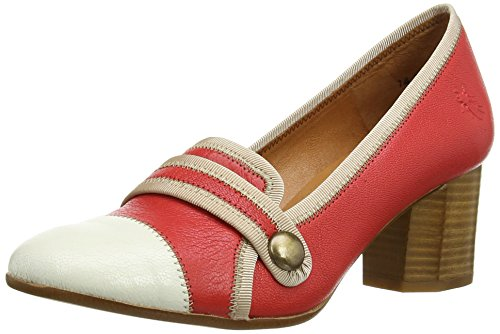 Fly London BAMI, Decolleté chiuse donna, Rosso (Rot (Scarlet/Offwhite (Beige) 002)), 36