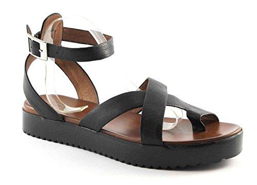 DIVINE FOLLIE 033-2A nero sandali donna infradito pelle cavigliera 39