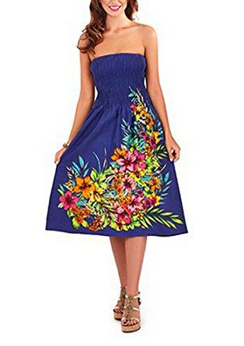 Pistachio Damen 3 In 1 Blumen-bandeau Midi Kleid Marine Blume