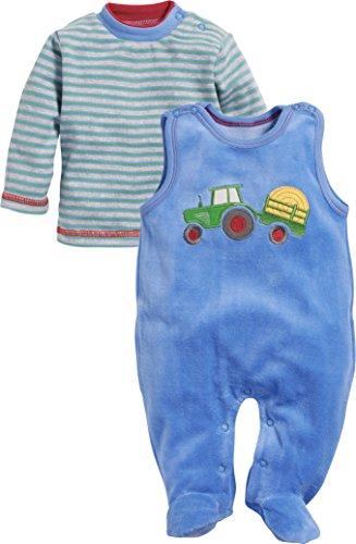 Schnizler Baby-Jungen Strampler Set Nicki 2-teilig Traktor mit gestreiftem Langarmshirt Blau 7, 62