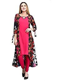 The Bebo Pink 3/4 Sleeve Crepe Straight Elegant Kurti