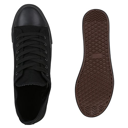 Herren Sneakers Low Canvas Turnschuhe Basic Freizeit Schuhe Schwarz