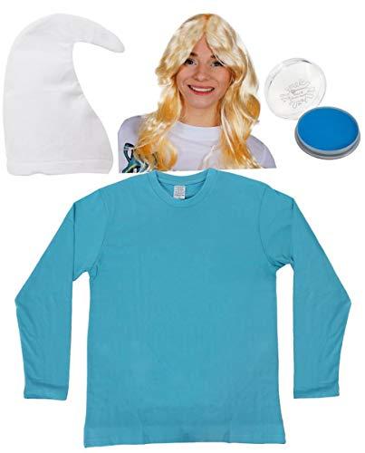 ILOVEFANCYDRESS BLAUES Zwerge Erwachsene SCHLUMPF=Unisex=VERKLEIDUNG-KOSTÜM=Fasching-Karneval-Party=ERHALTBAR IN Verschiedenen VARIATIONEN=WEIßE MÜTZE+Make UP+PERÜCKE+Shirt-SMALL