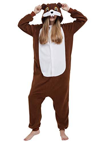 Jumpsuit Onesie Tier Karton Kigurumi Fasching Halloween Kostüm Lounge Sleepsuit Cosplay Overall Pyjama Schlafanzug Erwachsene Unisex Eichhörnchen for Höhe 140-187CM