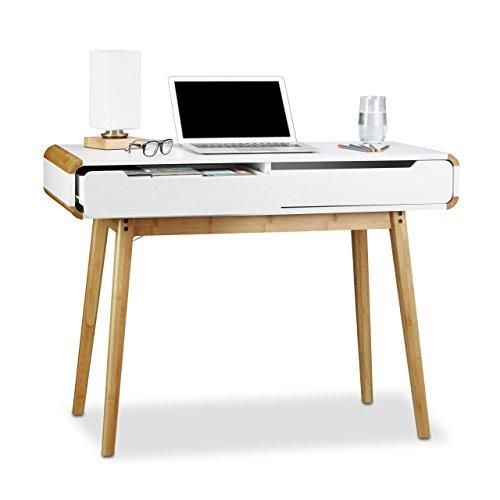 Relaxdays Escritorio con cajones, diseño nórdico, Lavabo, Escritorio de niño, Altura x Ancho x diámetro:73x 100x 45cm, Color Blanco