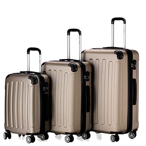 Flexot 2045 3er Reisekoffer Set - Farbe Champagner Größe M L XL Hartschalen-Koffer Trolley Rollkoffer Reisekoffer 4 Rollen