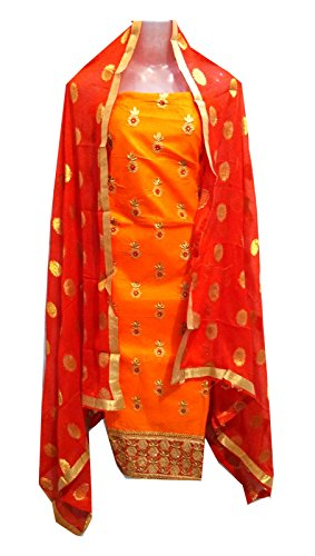 C&S Un-stitched Embroidered Designer Patiala Salwar Suit Party Dress Material (ORANGE)