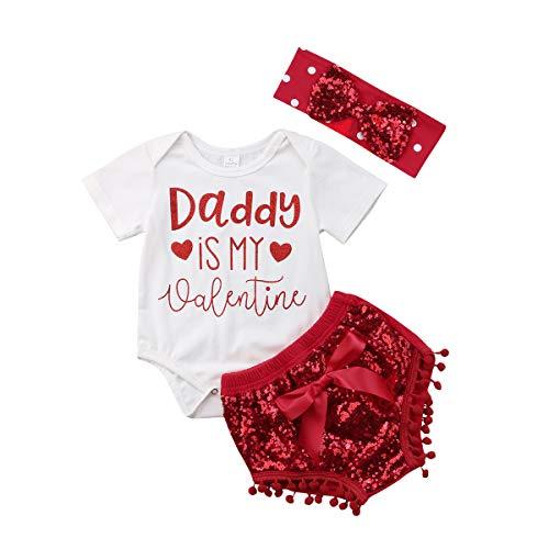 Luckylife Baby Neugeborenes Sets Strampler+Hosen+Stirnband 3pcs Mädchen Rot Pailletten Daddy is My Valentine (6-12 Monate, Rot)