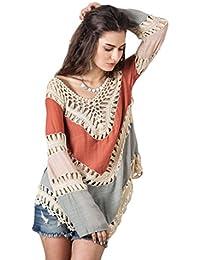 Susenstone La Mujer Bohemia Encaje Crochet Bikini Hueco Cover Up Vestido de  Traje de baño Playa f7cdb11b986