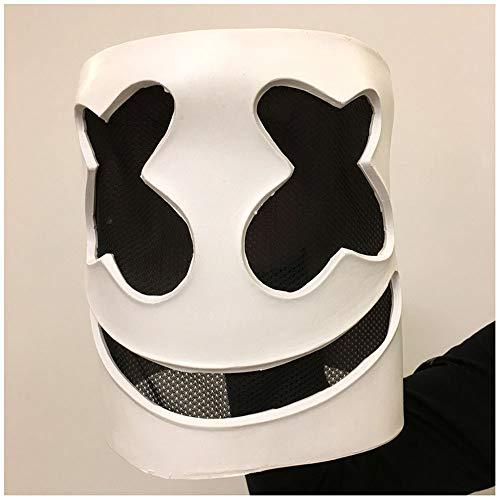 (Maske YN Marshmello Perücke Musik Festival Cos Marshmallow DJ Kopf Set Nachtclub Bar Live-Performance lustig)