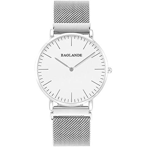 Alienwork Classic St.Mawes Reloj cuarzo elegante cuarzo Cerradura Imán Único Pulsera Milanese Loop Metal blanco plata U04813G-01