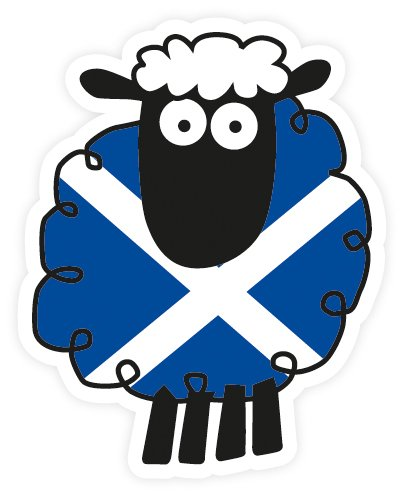 Scottish St. Andrews Saltire Flag Cartoon Sheep Car Vinyl Sticker Decal (Flagge Saltire Scottish)