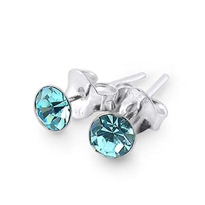 Round Set Aquamarine Crystal MARCH Birthstone 925 Sterling Silver Stud Earrings