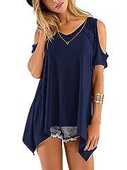 Idea Regalo - Florboom Maglia Manica Corta da Donna Top con Spalle Scoperte Camicia Pullover Sciolto Blu Reale XL