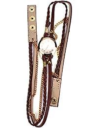 Covermason Bracelet en cuir tressé liquidation Rivet Bracelet Montres bracelet marron