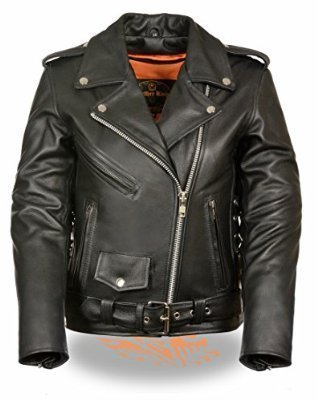 Preisvergleich Produktbild Milwaukee Leather Ladies Classic Side Lace Motorcycle Jacket w / Zip Out Liner (Large)