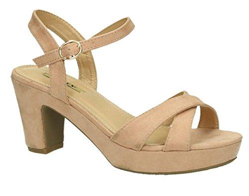 Damen Riemchen Abend Sandaletten High Heels Pumps Slingbacks Velours Peep Toes Blockabsatz Schuhe 150 (40, Pink) -