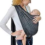 Écharpe de portage avec anneau d'ajustement - Porte-bébé ventral ou dorsal de marque CUBY - Réglable - Matériau respirant - Couleur Gris