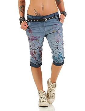 ZARMEXX 12299 Donne pantaloni capri pantaloni larghi Fidanzato Jeggings dei jeans fantasia capri Chinos