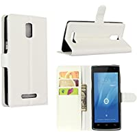 Guran® Leather Case for Doogee Kissme DG580 Smartphone Flip Cover Standing Function and Card Slot Mobile Case--white