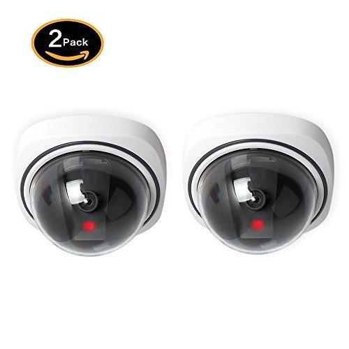 2 Pack Dummy Überwachungskamera Fake Kamera mit Blinkendem LED-Licht Wasserdichte Attrappe CCTV Kameras für Innen Außen Haus Sicherheit